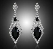 "2.75"" VINTAGE STYLE  BLACK & CLEAR DAIMANTE CRYSTAL LUXURY DROP STUD EARRINGS"