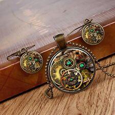 Jewelry Set Women Wheel Gear Thermal Transfer Cabochon Glass Necklace Earrings