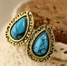 Women Earrings Blue Drop Bronze Retro Cute Ear Studs Vintage Pierced  Jewelry