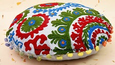 """16"""" Indian White Handmade Embroidered Work Cushion Throw Bohemian Pillow Cover"""