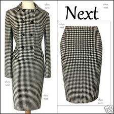 B6 Next 8 40s 50s vintage black dogtooth wool pencil skirt suit ladies petite