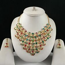GOLD MULTI INDIAN COSTUME JEWELLERY NECKLACE EARRINGS CRYSTAL SET NEW BRIDAL