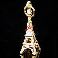 3D EIFFEL TOWER Solid 24k Gold Layered Charm Pendant + LIFETIME GUARANTEE