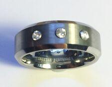 """Stunning Pure Tungsten Men's Dress/Wedding Ring """"Tripple CZ"""" Size 11 (T023)"""
