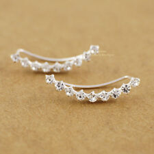 925 Sterling Silver White CZ Line Climber Crawler Cuff Earrings A1775