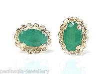 9ct Gold Emerald Oval Stud earrings Gift Boxed Made in UK