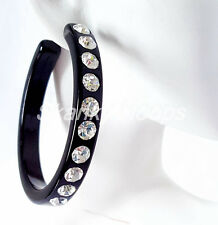 "NEW 2.25"" BLACK COLOR SINGLE ROW CLEAR RHINESTONE FASHION BLING HOOP EARRINGS"