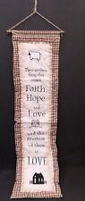 shabby chic country vintage decor verse faith love hope wall hanger sign