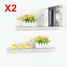 2X 45cm Bevelled Mirrored Floating Shelf Wall Storage Wall Shelf Mounting Kit UK