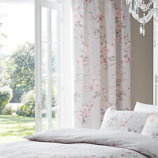 Canterbury Floral Grey Pink Rose 66x72 Lined Pencil Pleat Ready Made Curtains