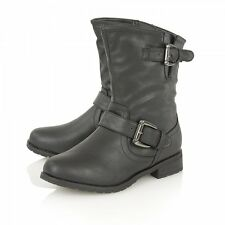 Lotus Barberry Biker Style Ankle Boots Synthetic Leather Black Size 6 New