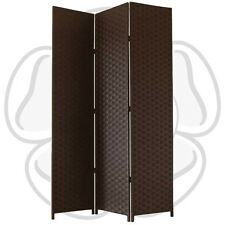 JVL Free Standing 1.72m High Folding Brown Woven Decorative Screen Room Divider