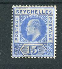 Seychelles KEVII 1903 15c ultramarine 'dented frame' variety SG50a mounted mint