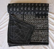 Hand Block Print Kantha Quilt Cotton Bedspread Black & white 260 x 210 Throw