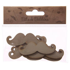 Moustache Shaped Wooden Craft Shapes - 8 Per Pack