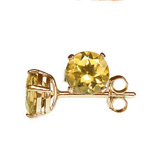 5mm ROUND FACETED GENUINE GOLDEN YELLOW CITRINE 9k/9ct YELLOW GOLD STUD EARRINGS