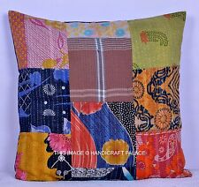"""24"""" Indian Vintage Patchwork Kantha Cushion Pillow Cover Throw Cotton Home Decor"""