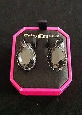 NIB Juicy Couture New Gen. Silver Plated Black Diamanté  Drop Earrings (Pierced)