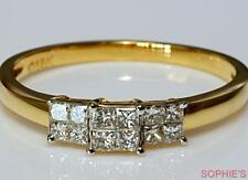 Natural Princess Cut Diamond 3-Stone Style Ring Invisible Set In 14k Yellow Gold