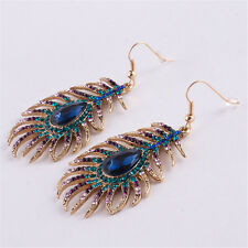 Boho Colorful Rhinestone Dangle Blue Crystal Peacock Feather Shape Earrings
