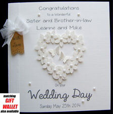LARGE Personalised Wedding  Day Engagement Anniversary Congrats FlowerHeart Card
