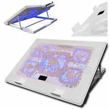 """LAPTOP COOLER 5 FAN COOLING STAND PAD BLUE LED 10-17"""" EXTRA USB PORT S500 WHT"""