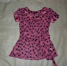 Atmosphere Pink and Black Spotted Chiffon Top Size 10
