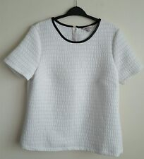 M&S LIMITED COLLECTION LADIES IVORY TOP WITH FAUX LEATHER TRIM  SIZE 14