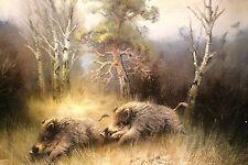 Arnold SCHATZ (Stepenitz 1929-1999 Bielefeld) Wildschwein Keiler Sau wild boar