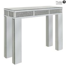 MIRRORED & CRUSHED CRYSTAL CONSOLE TABLE, CONTEMPORARY MIRRORED SIDE TABLE