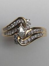 14K Yellow Gold Marquise Shape Diamond Engagement Ring with Channel Band