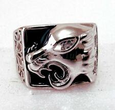 White Gold Plated Simulated Diamond Mens Animal Leopard Big Heavy Ring Size 10 T