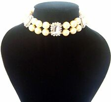 MARTINE WESTER 3 CLEAR DIAMOND CRYSTAL & PEARL WEDDING CHOKER/ Necklace BNWOT