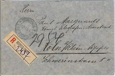 ROMANIA -  POSTAL HISTORY : REGISTERED COVER with rare lable BUCURESTTI-FINANTE