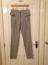 LADIES 'FRENCH CONNECTION' BRAND NEW GREY FRILL TROUSERS. SIZE 8. Leg 32 INCHES.