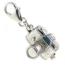 British Sterling 925 Silver SLR Camera Charm Opening, Clip On or Split Ring Fit