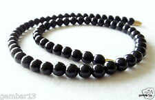 """Genuine Natural 6mm Black Onyx necklace Round Beads 16"""" 6 mm Black Onyx Beads"""