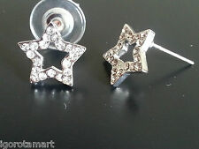 14mm Iced Bling Star Clear Silver HipHop Star Unisex Stud Earrings Body Piercing