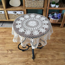 Vintage Hand Crochet Hollow Out Flower Lace Round Blend Tablecloth Home Decor