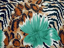 Japanese Kimono Poly Satin Leopard Print Material Sewing Fabric Craft By 1 Metre