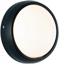 Powermaster Round Black Bulkhead Mini Plain Aluminium Outdoor Wall Light