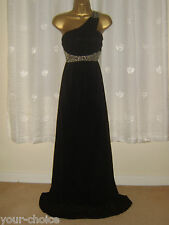 BEAUTIFUL BLACK ONE SHOULDER MAXI EVENING PARTY DRESS SIZE 12 NEW