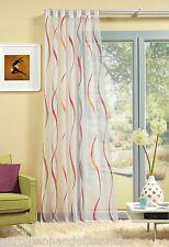 Schlaufenschal Vorhang Gardine Voile weiß Wellen rot orange grau 245 cm hoch