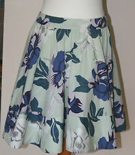 Warehouse UK12 EU40 green floral fully lined 100% cotton skirt