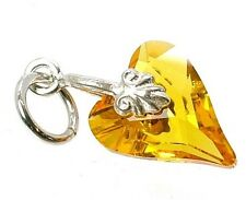 STERLING SILVER & CITRINE CRYSTAL WILD HEART CHARM