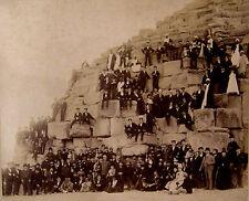Vintage-Photo,wohl G.Lekegian ,1880-1920,Aegypten,Pyramide,Reisegesellschaft
