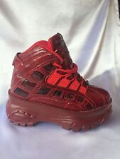 Rock Walk Deep Red Leather Look With Snakeskin Engravings Chunky 2 And A Half In