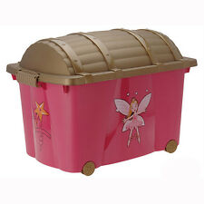 Princess Chest Kids Toy Box with Wheels Childrens Playroom Bedroom Storage Tidy