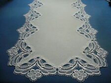 TischLäufer  Plauener Spitze Stoff 45x95 cm champagner Polyester fleckgeschützt