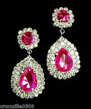 Glitzy Glamour Sparkly pink crystal & clear diamante earrings - PROMS